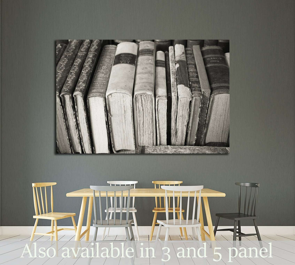 B&W old books №2541 Ready to Hang Canvas Print