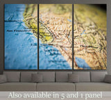 California map part of a world globe №1819 Ready to Hang Canvas Print