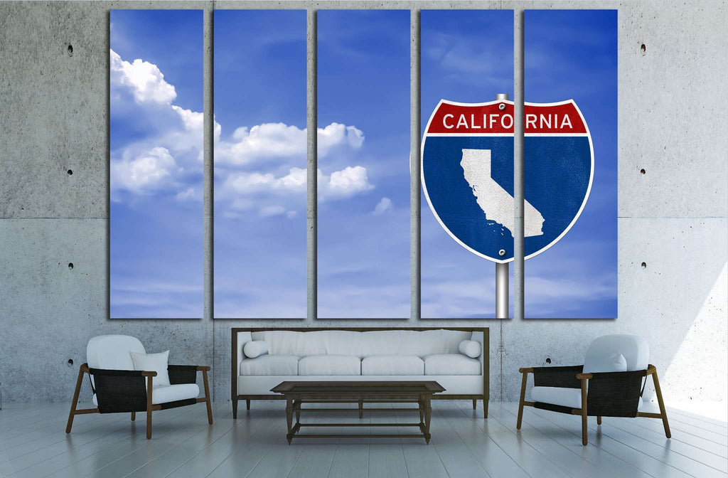 California road sign concept №1949 Ready to Hang Canvas Print
