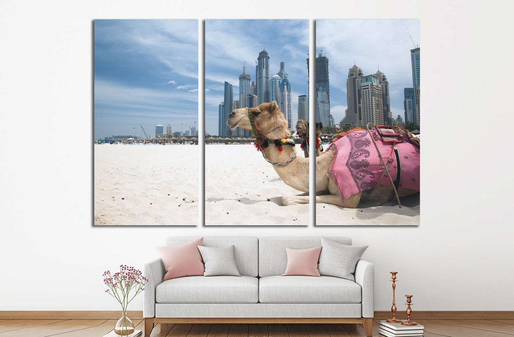 Camel at the urban background of Dubai №1135 Ready to Hang Canvas Print