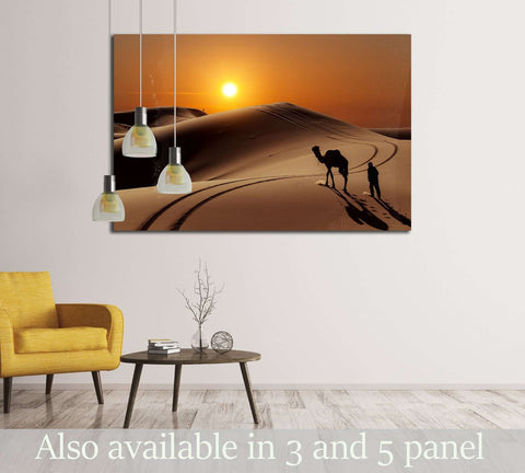 Camel with herdsman in the Sahara desert, Morocco №2695 Ready to Hang Canvas Print