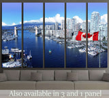 Canadian flag, False Creek, Burrard street bridge, Vancouver, Canada №1269 Ready to Hang Canvas Print