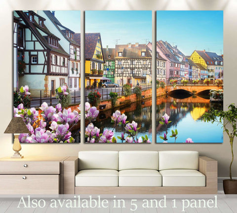 canal of Colmar, most famous town of Alsace at spring day, France №2387 Ready to Hang Canvas Print