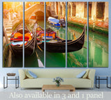 Canal with two gondolas, Venice, Italy №833 Ready to Hang Canvas Print
