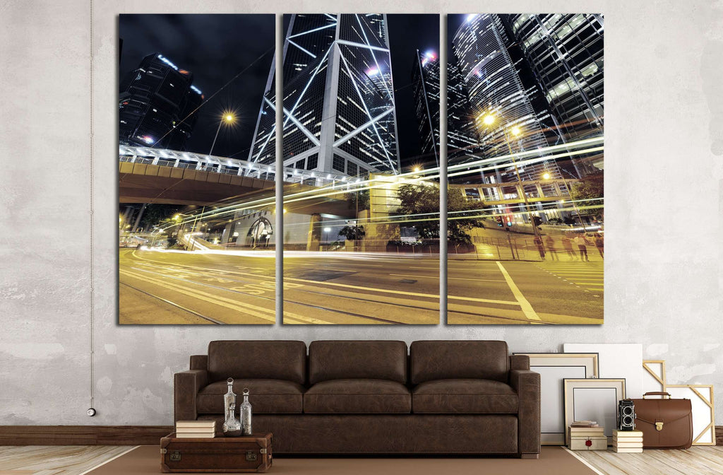 Car light trails and urban landscape in Hong Kong №2160 Ready to Hang Canvas Print