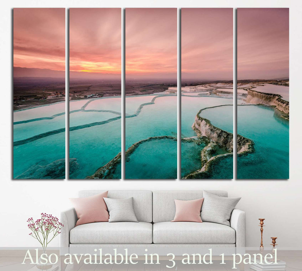 Carbonate travertines the natural pools during sunset, Pamukkale, Turkey №1995 Ready to Hang Canvas Print