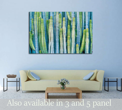CARDON CACTUS IN SUMMER WITH RICH BLUE GREEN AND TORQOUISE COLORS №2828 Ready to Hang Canvas Print