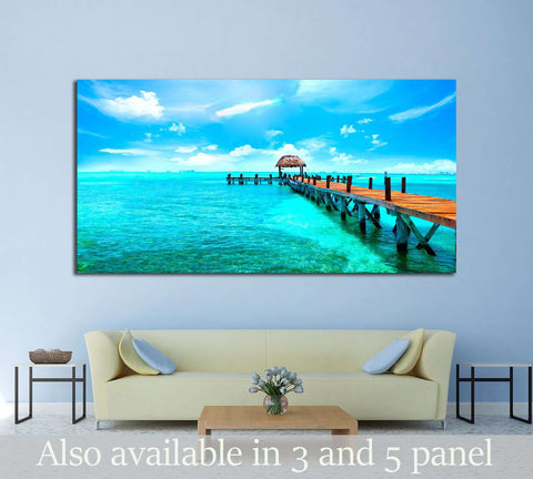 Caribbean sea Jetty near Cancun, Mexico №2517 Ready to Hang Canvas Print