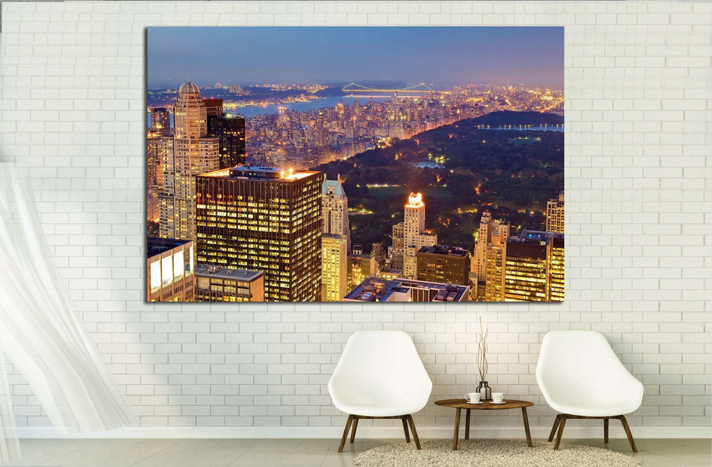 Central Park at Night in New York city, USA №1505 Ready to Hang Canvas Print