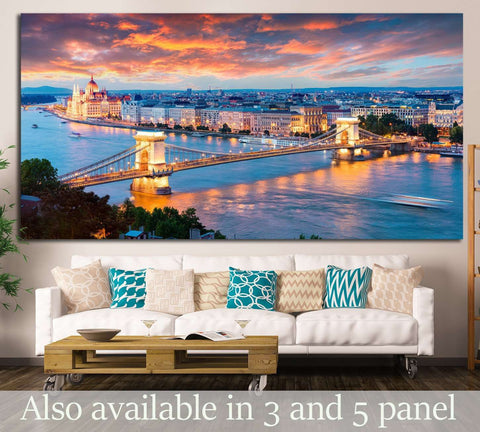 Chain Bridge in Pest city, Budapest, Hungary №1197 Ready to Hang Canvas Print