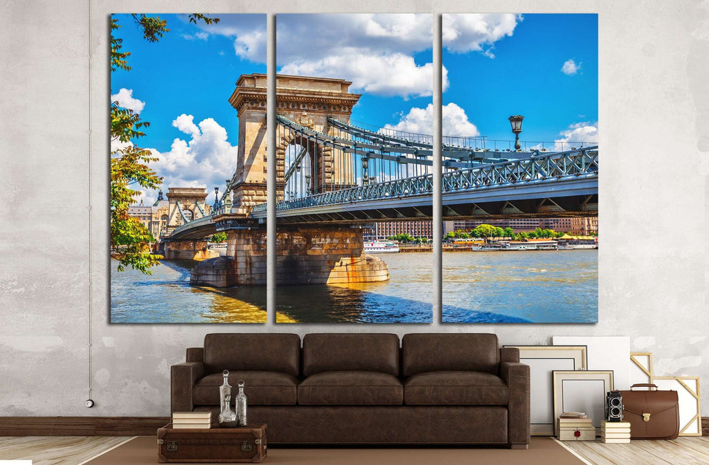 Chain bridge on danube river in budapest, hungary №1230 Ready to Hang Canvas Print