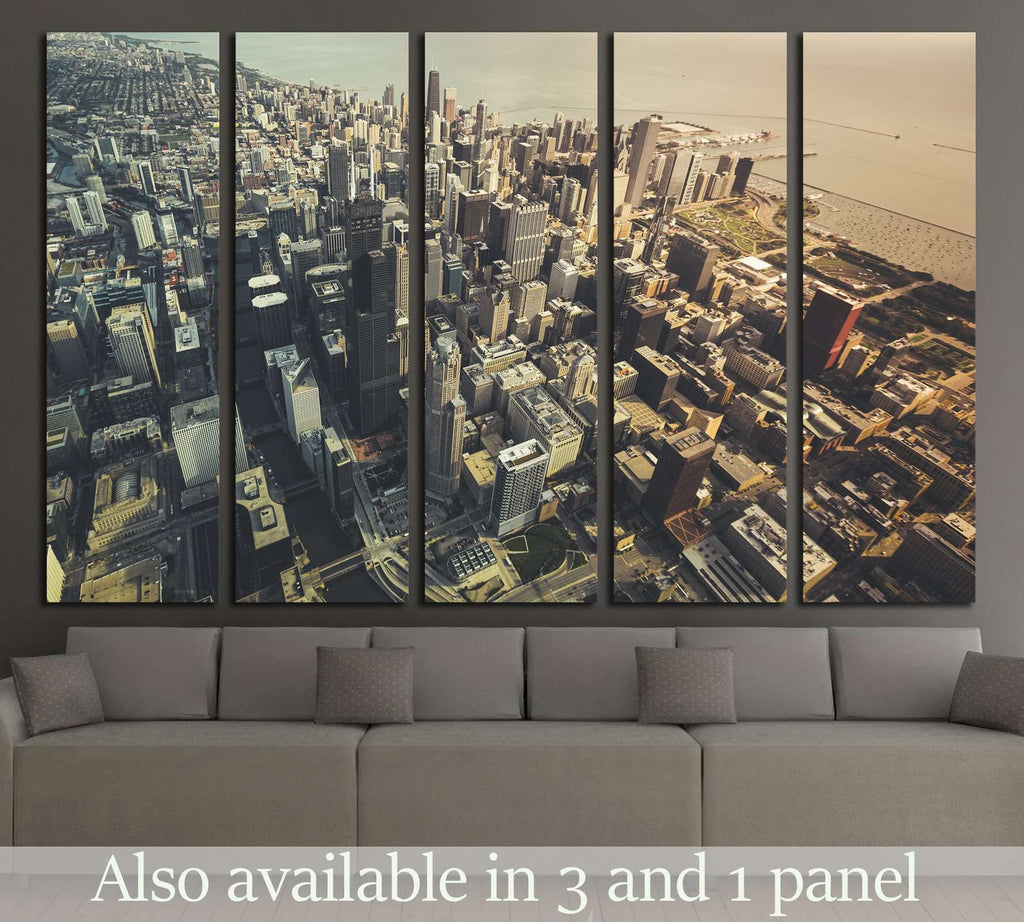 Chicago Downtown- Aerial View with desaturated colors №2326 Ready to Hang Canvas Print