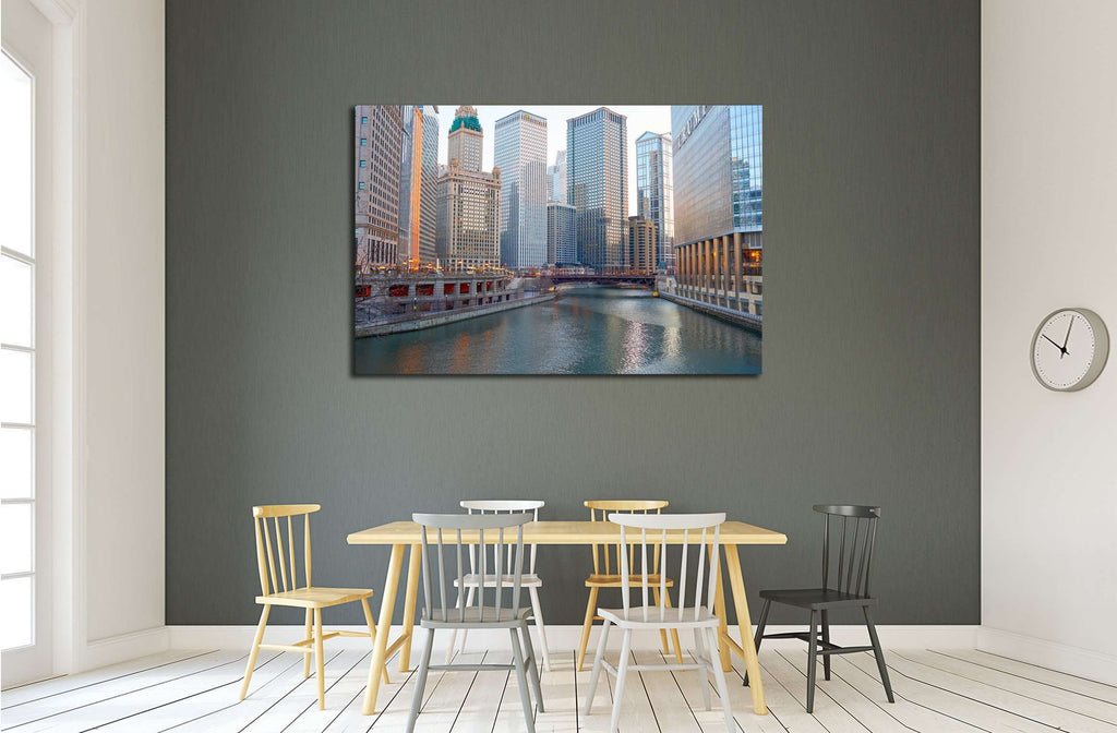 Chicago River at twilight, CIRCA, Chicago, IL №2212 Ready to Hang Canvas Print