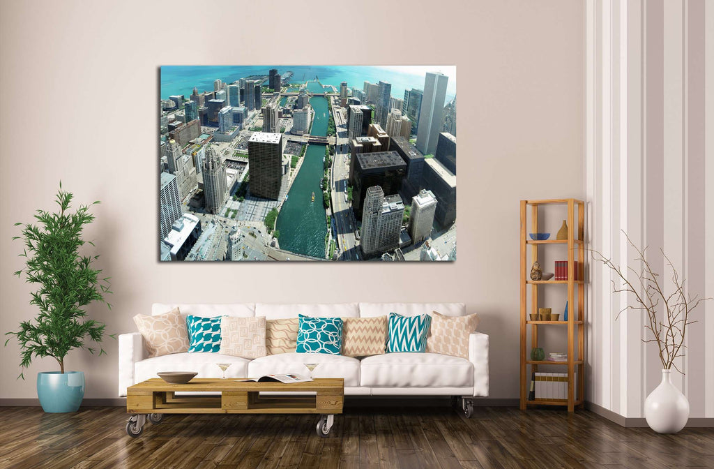 Chicago skyline panorama from 88th floor on Chicago river №2140 Ready to Hang Canvas Print