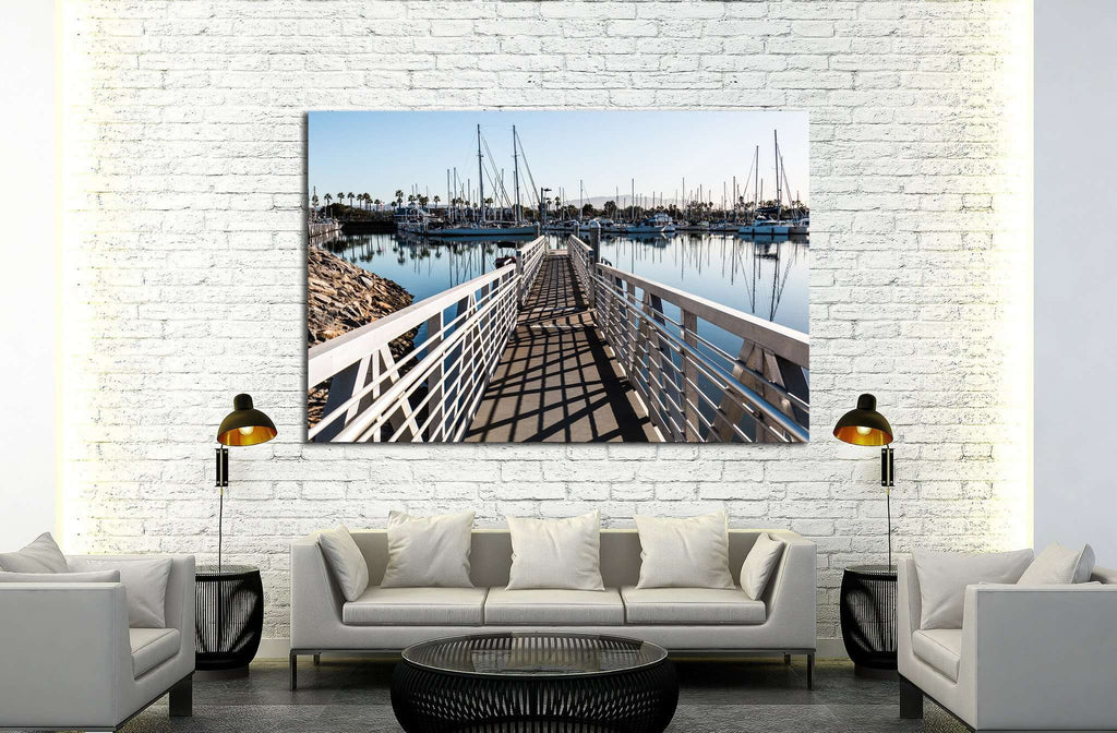 Chula Vista Bayfront park boat launch ramp with boats moored in marina №2105 Ready to Hang Canvas Print