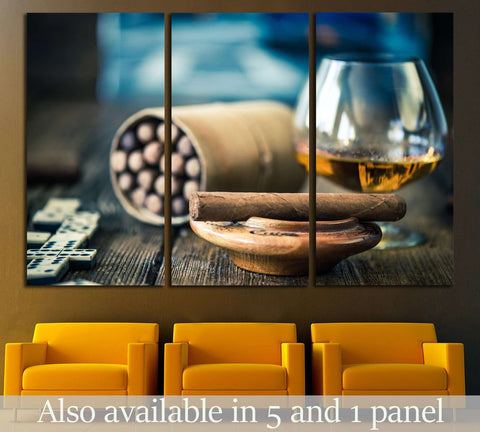 Cigars and Glass №536 Ready to Hang Canvas Print
