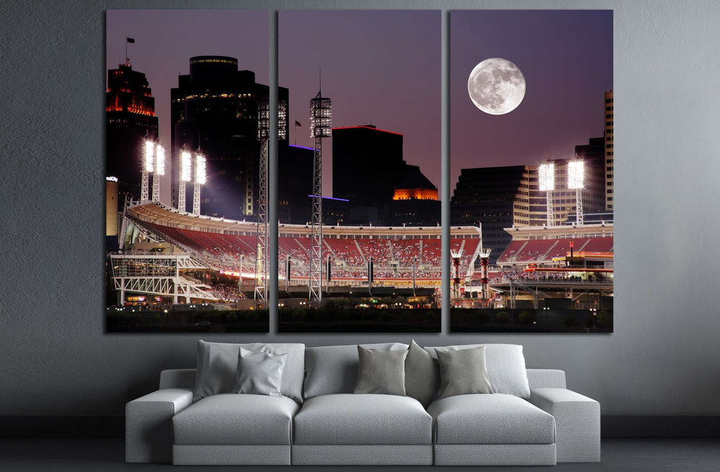 Cincinnati Ohio After Sunset, Reds vs Cubs №1662 Ready to Hang Canvas Print