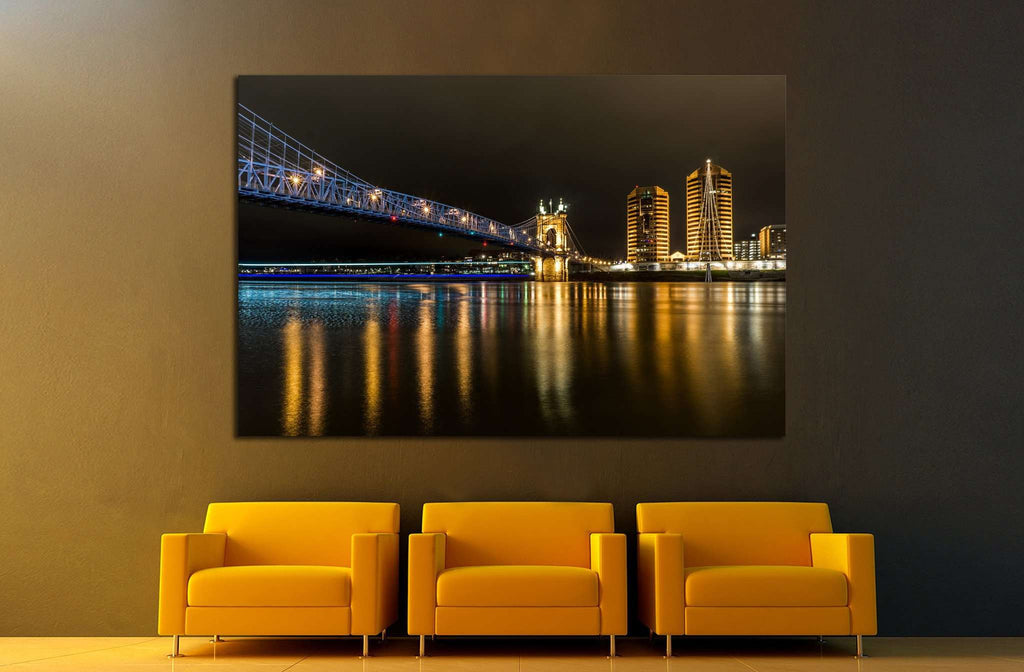 Cincinnati Roebling Bridge at Night №1752 Ready to Hang Canvas Print
