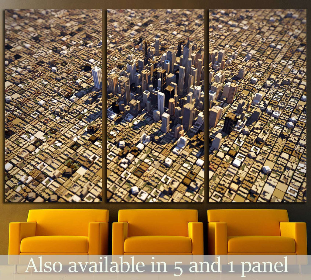 city downtown №1509 Ready to Hang Canvas Print