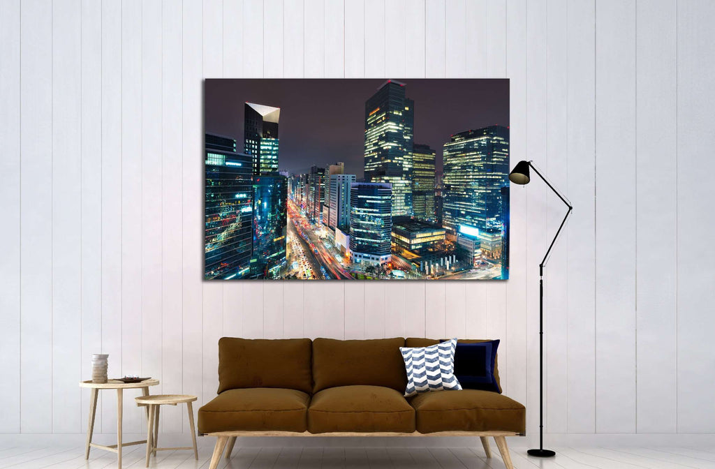 City lights in the Gangnam district of Seoul, South Korea №2163 Ready to Hang Canvas Print