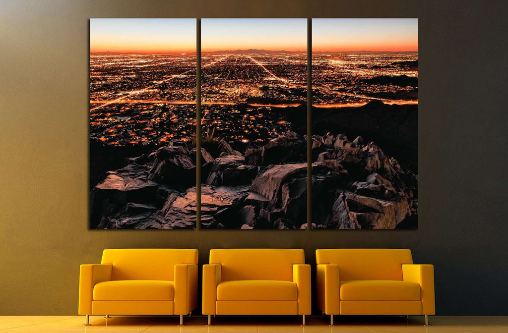 City Lights, mountain view №1006 Ready to Hang Canvas Print