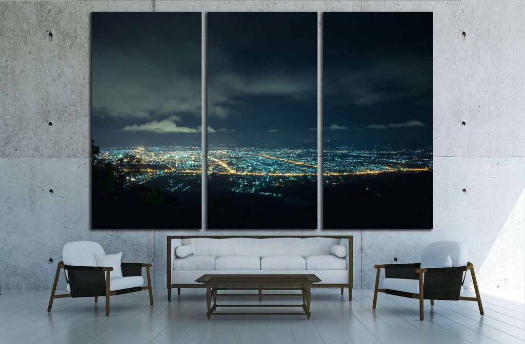 City night from the view point on top of mountain , Hat Yai, Thailand №2189 Ready to Hang Canvas Print