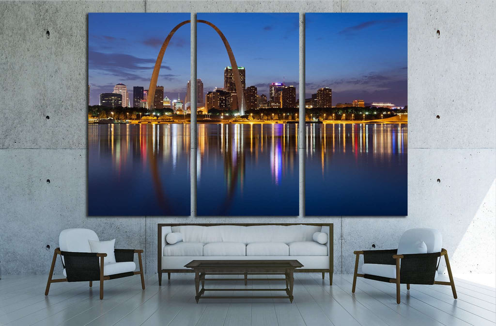 City of St. Louis skyline, Gateway Arch at twilight №2024 Ready to Hang Canvas Print