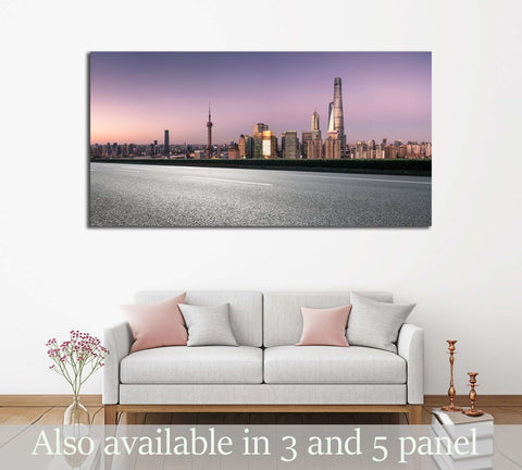city road with cityscape and skyline of shanghai at night №2976 Ready to Hang Canvas Print