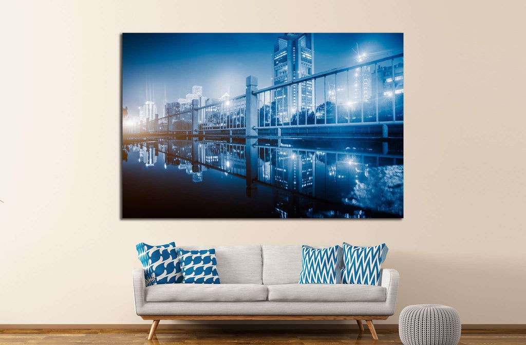 City skyline №1064 Ready to Hang Canvas Print