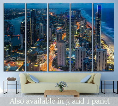City skyscrapers at night, Queensland, Australia №1436 Ready to Hang Canvas Print