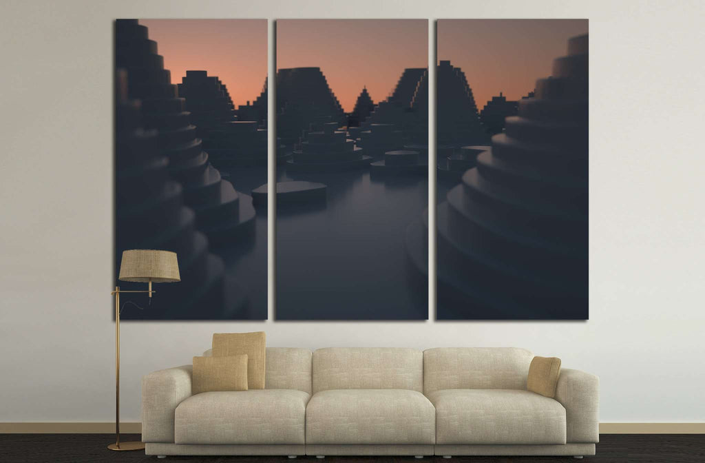 Cityscape at sunset №1605 Ready to Hang Canvas Print