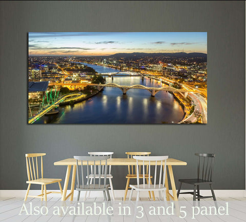Cityscape Skyline at Twilight Dusk in Summer, Queensland, Australia №2295 Ready to Hang Canvas Print