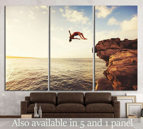 Cliff Jumping into the Ocean at Sunset, Summer Fun Lifestyle №1380 Ready to Hang Canvas Print