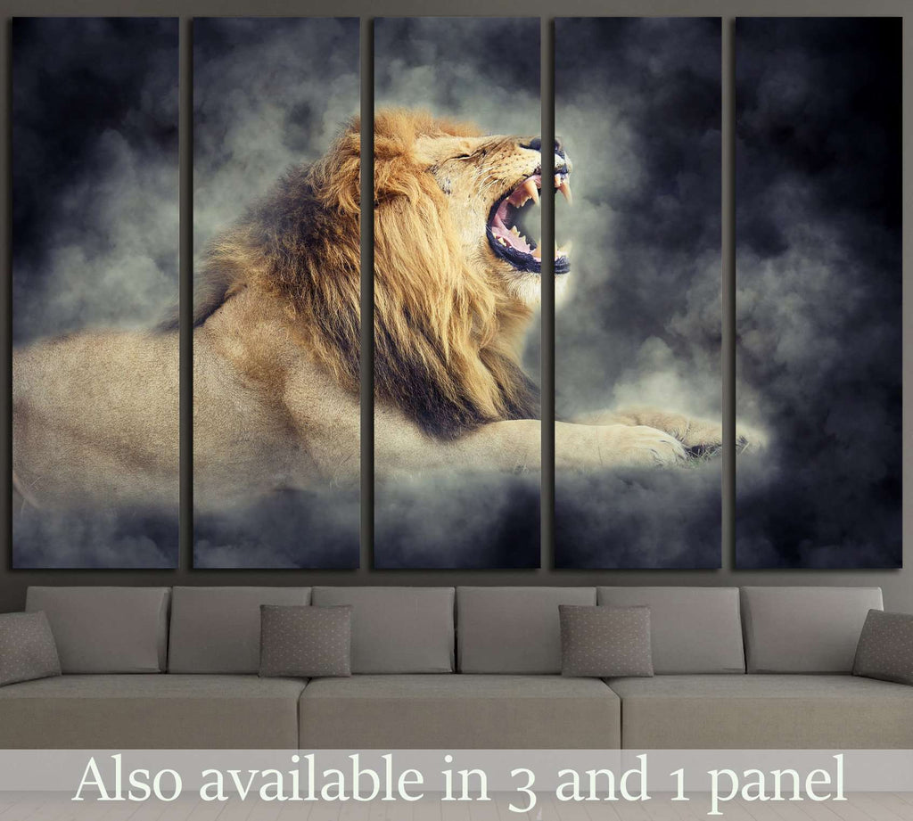 Close male lion in smoke on dark background №1833 Ready to Hang Canvas Print