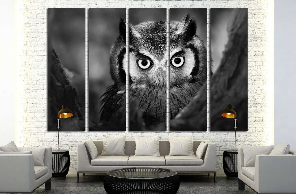 Close-up of a Whitefaced Owl №1842 Ready to Hang Canvas Print