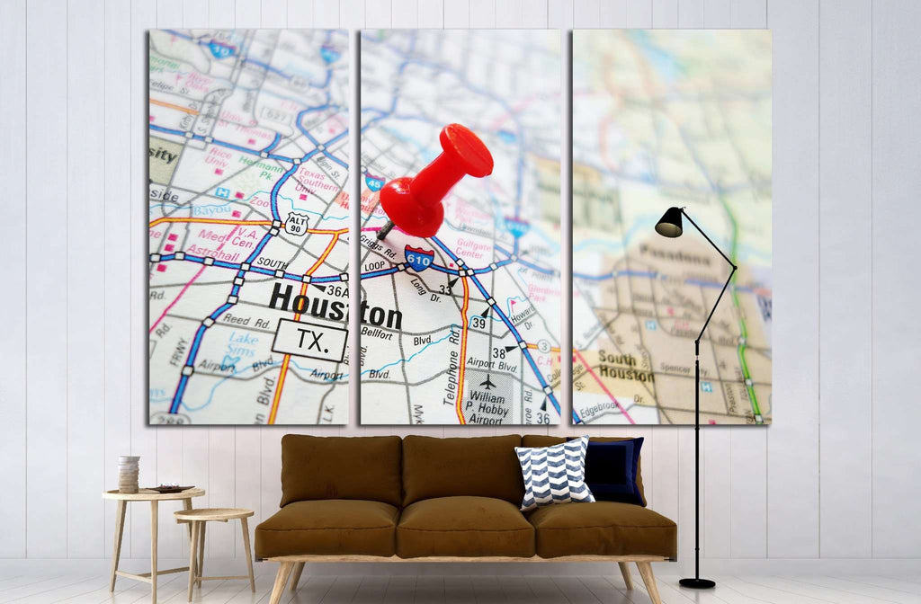 Closeup of a Houston, Texas map with red pin №2103 Ready to Hang Canvas Print