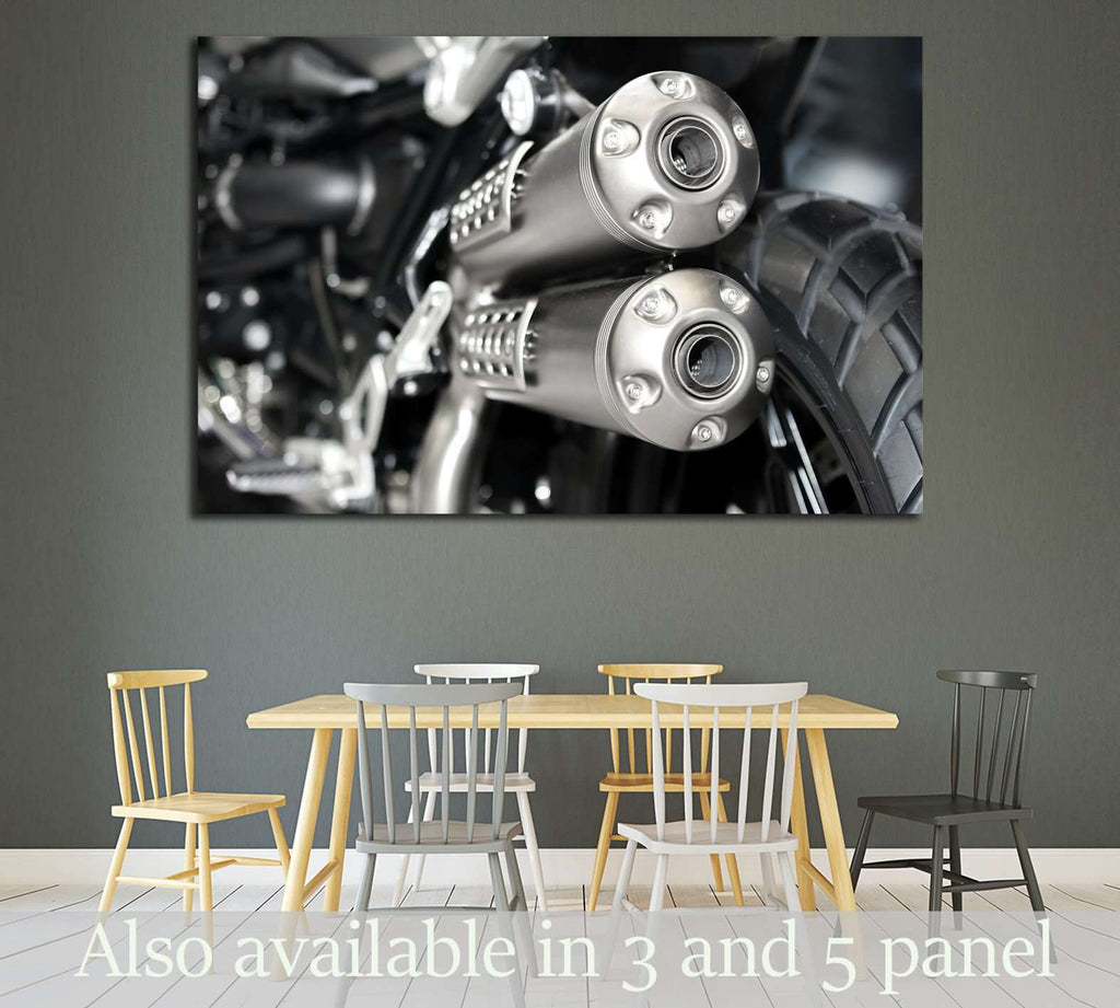 Closeup of exhaust or intake of racing motorcycle №1887 Ready to Hang Canvas Print