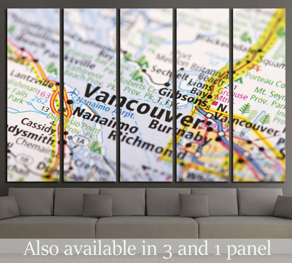Closeup of Vancouver, British Columbia on a political map of Canada №2100 Ready to Hang Canvas Print