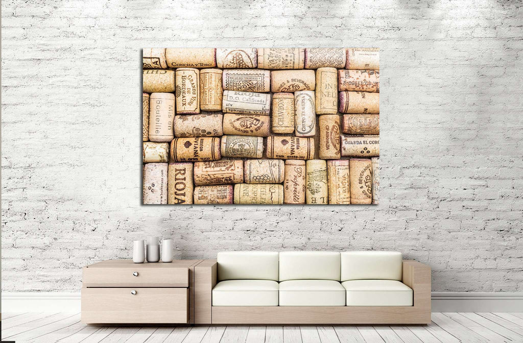 Closeup pattern background of many different wine corks №1917 Ready to Hang Canvas Print