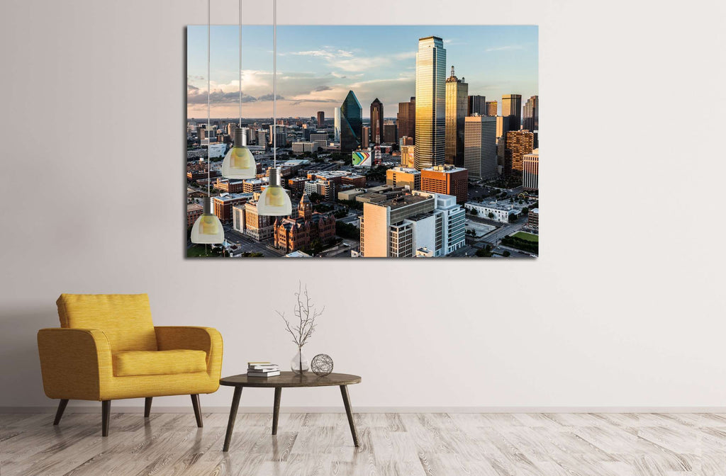 Clouds float across the sky in the setting sun of downtown Dallas, DALLAS, CIRCA №2208 Ready to Hang Canvas Print