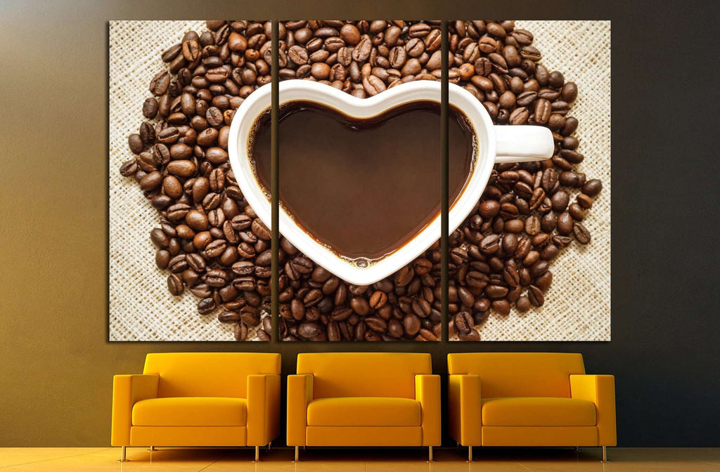 Coffee, A cup of coffee with a heart shape surrounded by coffee beans №1923 Ready to Hang Canvas Print