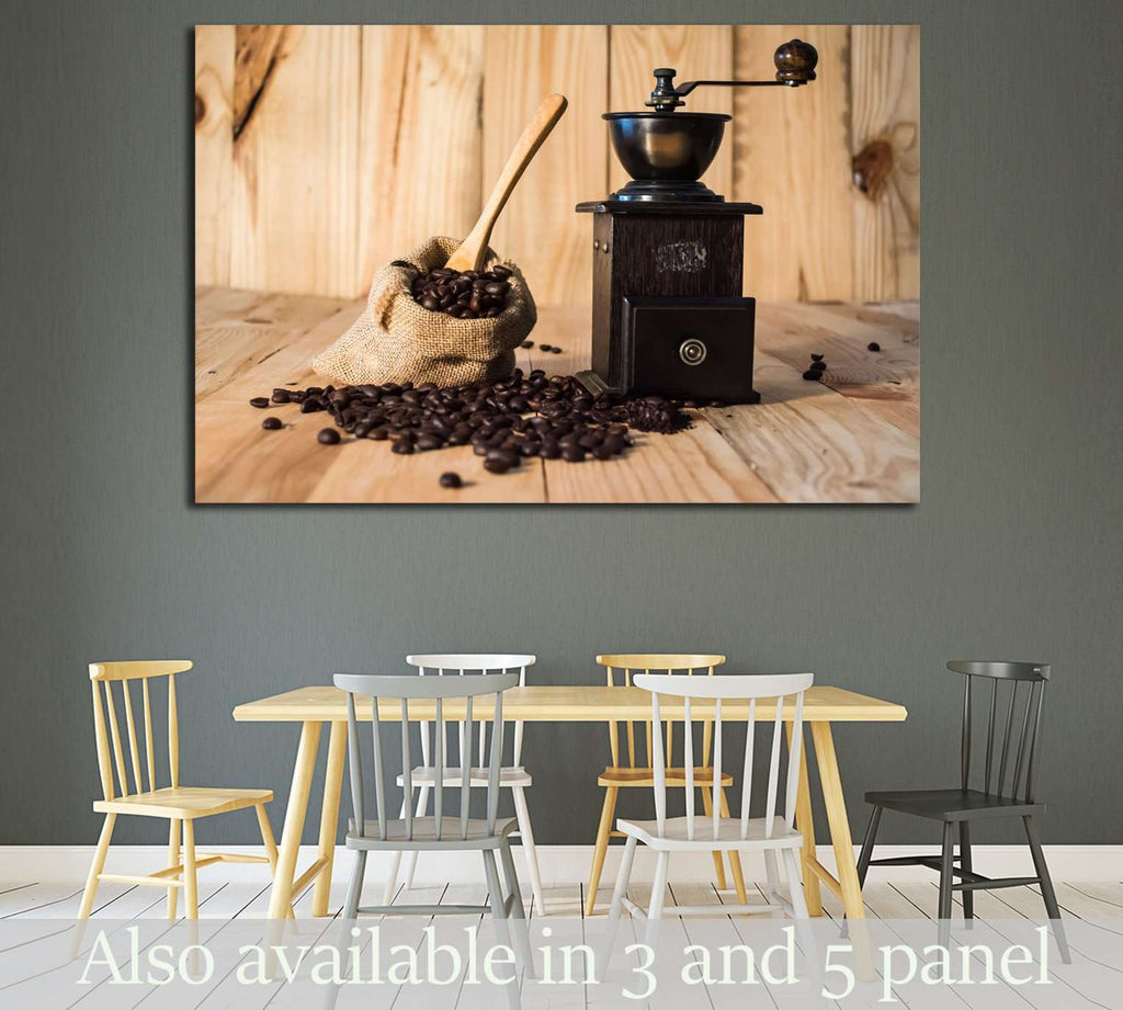 Coffee bean in bag on wood background №1914 Ready to Hang Canvas Print