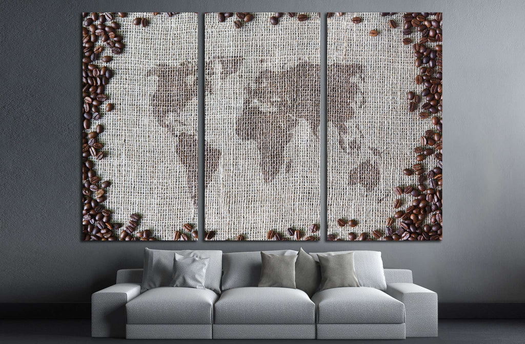 coffee beans, background with world map in the middle №1916 Ready to Hang Canvas Print