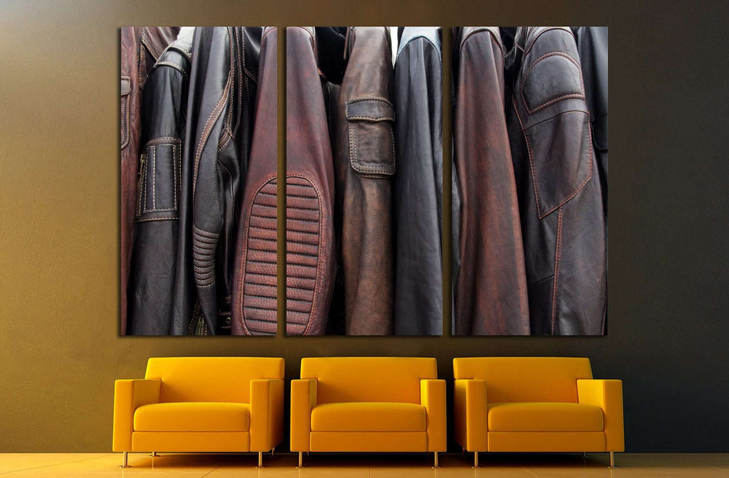Collection of leather jackets on hangers №1880 Ready to Hang Canvas Print