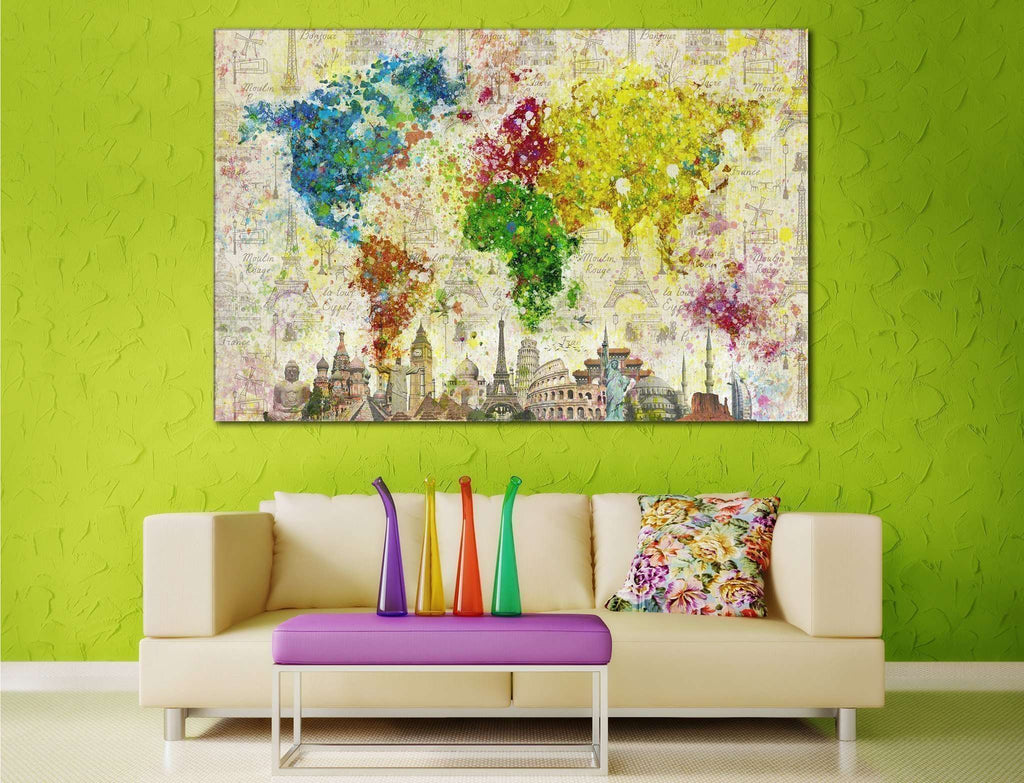 Color Splashes World Map №701 Framed Canvas Print Canvas Print ...