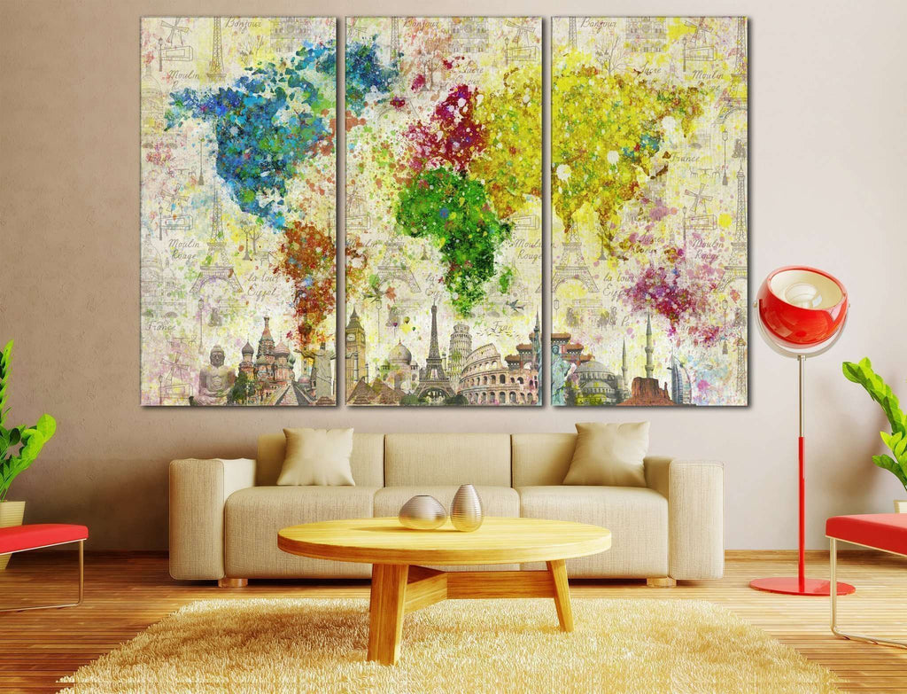Color Splashes World Map №701 Canvas Print
