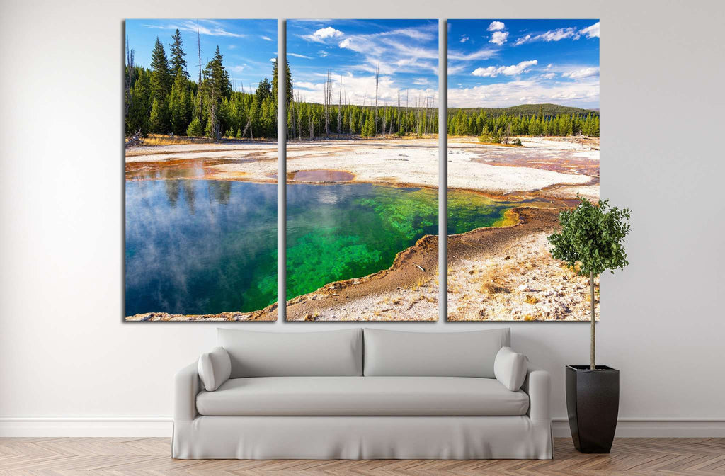 Colorful Abyss Pool in the West Thumb Geyser Basin in Yellowstone National Park №2004 Ready to Hang Canvas Print