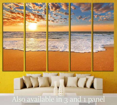 Colorful ocean beach sunrise №3109 Ready to Hang Canvas Print