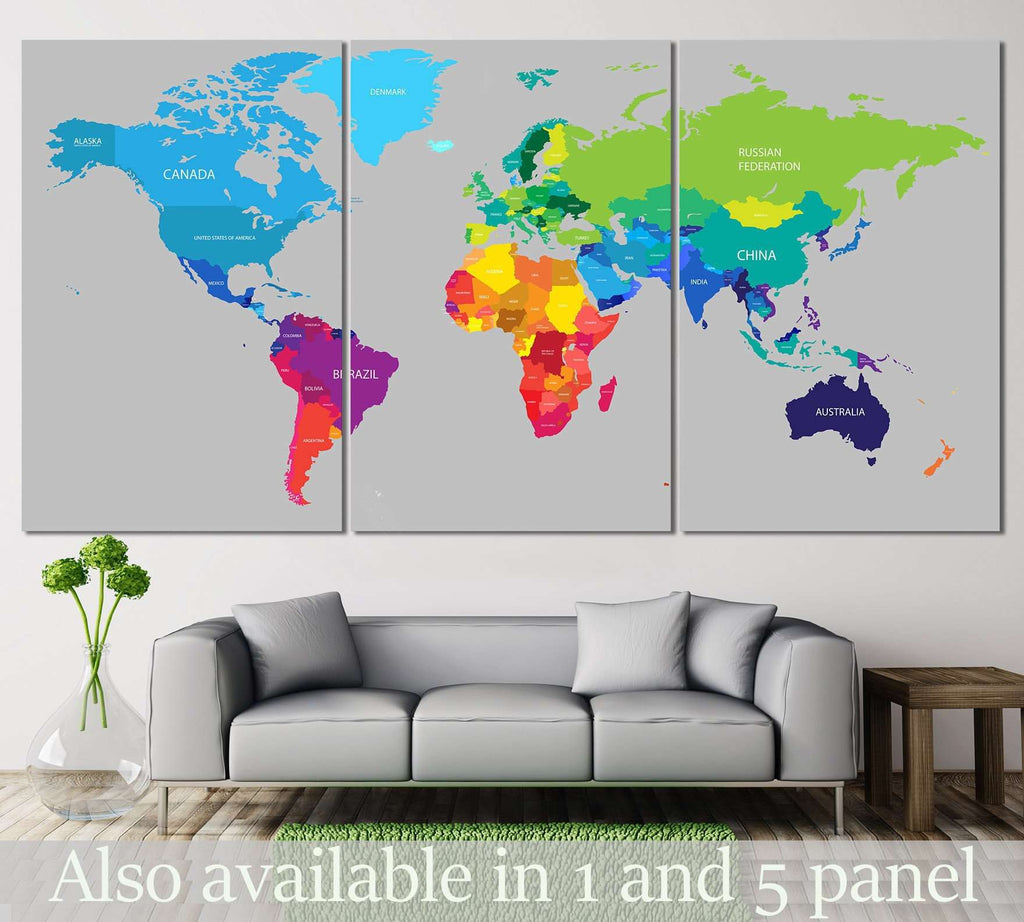 Colorful world map 113 ready to hang canvas print zellart colorful world map 113 ready to hang canvas print gumiabroncs Gallery