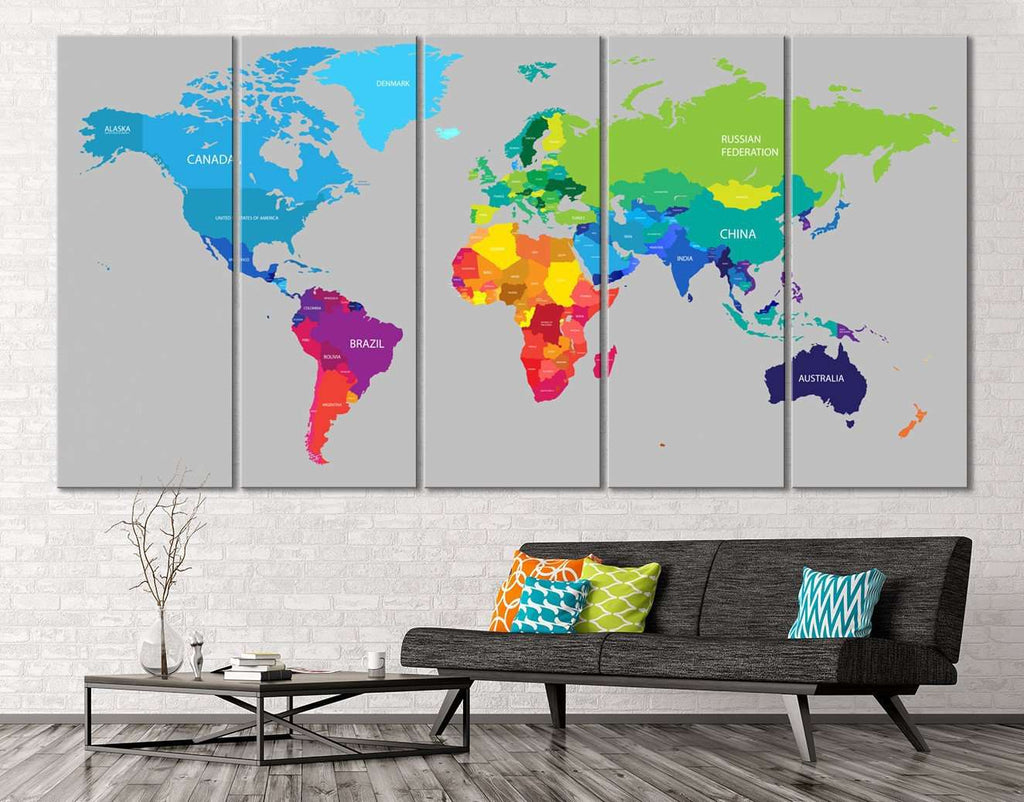 Colorful World Map Canvas Print Zellart - Colorful world map